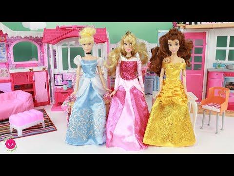 Preparo una Nueva Casa Barbie para las Princesas Disney Bella, Aurora y Cenicienta