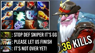 36 KILLS 12 ITEMS Sniper 3x Rapier vs Ebola Combo Kunkka + Riki Crazy Defense Comeback 7.20 Dota 2