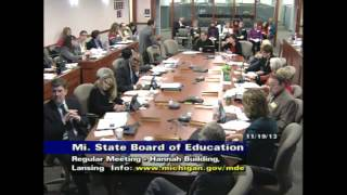 Michigan State Board of Education Meeting for November 19, 2013 - Morning Session