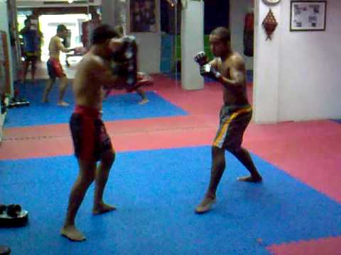 training in Chacrit Muay Thai School, Bangkok, Thailand