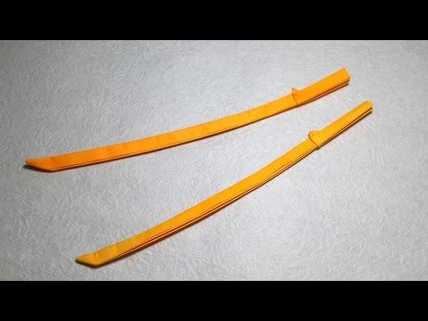 Origami Katana - Japanese sword tutorial with diagram - DIY (Henry Phạm)