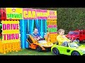 ALİ ARABA YIKIYOR Kid Ride on Toy Cars 🚗 Drive Thru CAR WASH Power wheels