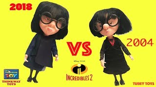 The Incredibles 2 Movie Toys Old 2004 vs 2018 Edna Mode Poseable Talking Dolls Thinkway Toys Tubey