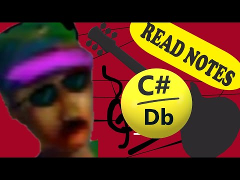 how to read music for guitar one note at a time - c#/db