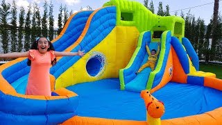 Gamze's new magic Inflatable water slide - Kids Toys Show