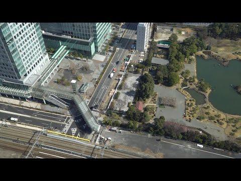 浜松町駅から竹芝駅・竹芝ふ頭を結ぶペデストリアンデッキ歩行者デッキの建設状況2017年2月25日