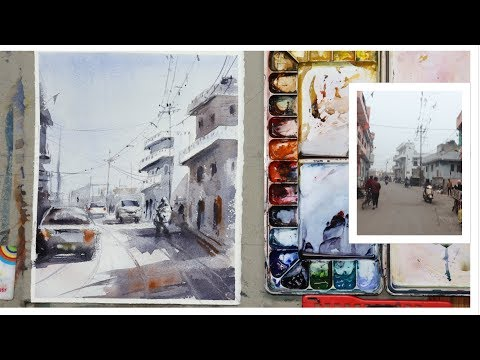 Cityscape | Watercolor Painting Tips And Techniques | Landscape | Rajasthan |Achintya Hazra