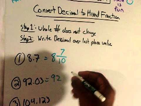 Convert Decimal To Mixed Fraction