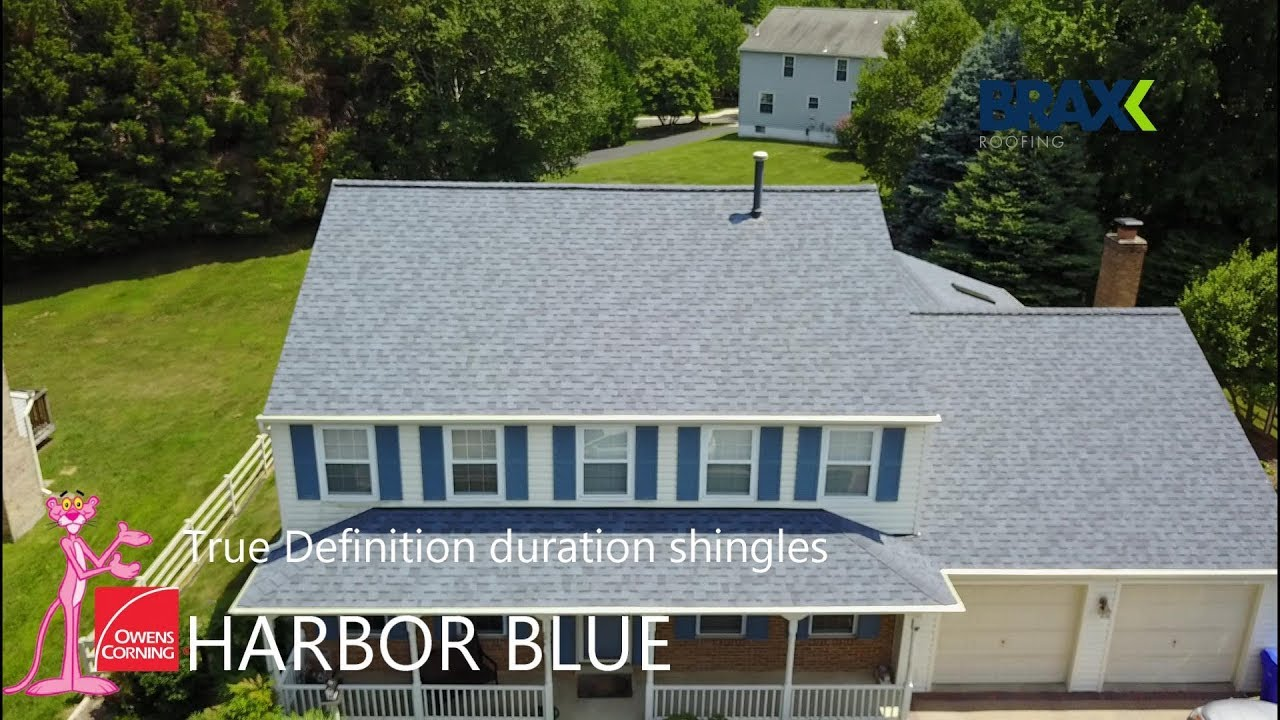 A pink bike in front of the house is, of course, a plus! Owens Corning Harbor Blue Duration Shingles Youtube