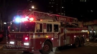 FDNY Ladder 25 + Division 3 -- Arriving on Scene