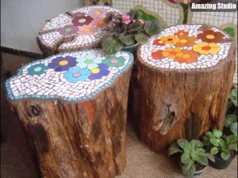 DIY Garden Stump Seats Mosaic Design