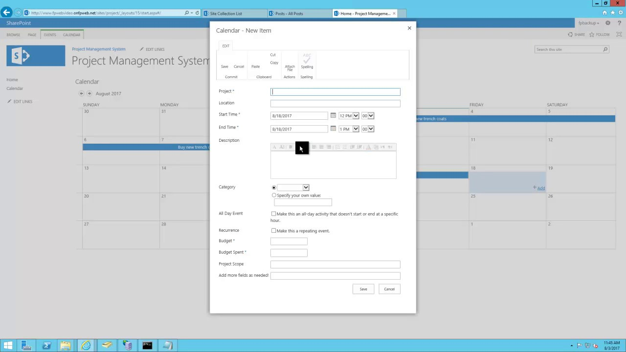 Sharepoint Template Project Management System Youtube