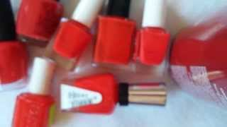 Bright Reds by OPI, Essie, SHCSM, Julie G, Avon and American Apparel