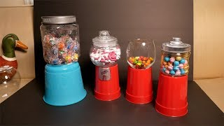 MAKE Dollar Store Gumball Candy Machines (NO PAINT OR GLUE)