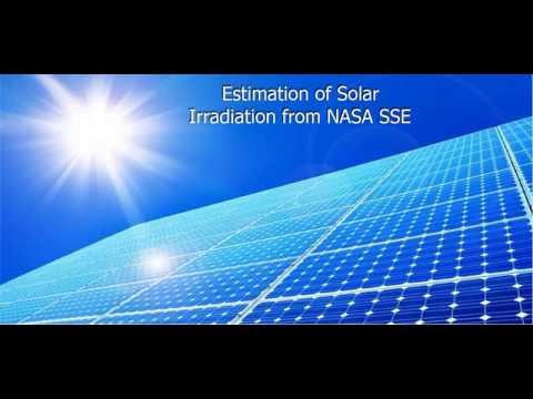 Estimating solar irradiation at any location using NASA SSE website