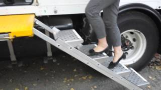 Folding stairs for our MAN Expedition truck