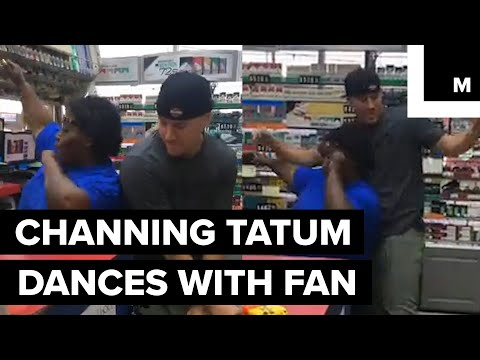 Channing Tatum dances with fan