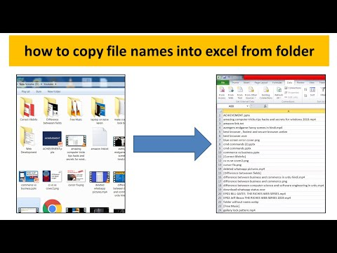 how to copy file names into excel | Export list of file names from Windows Explorer folder to Excel