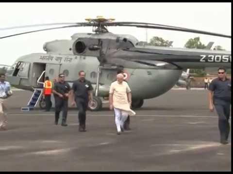 Prime Minister Narendra Modi at Jamnagar Air Force Station leaving for Delhi