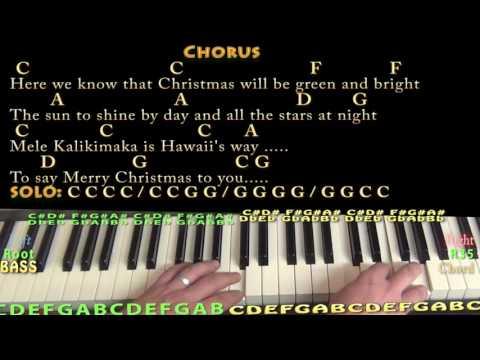 Mele Kalikimaka (Christmas) Piano Cover Lesson in C with Chords/Lyrics