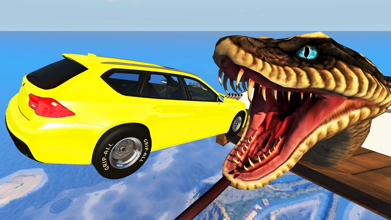 Dangerous Jumps Over the Giant Snake - BeamNG drive Game