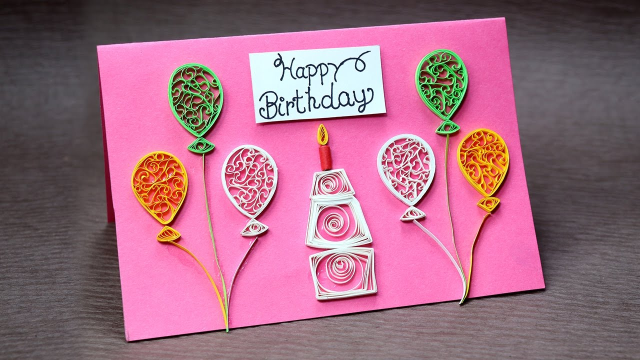 diy birthday card for beginners very easy quilling greeting card