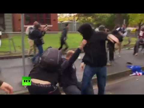 RAW: Violent clashes between anti-racism & anti-Islam protesters in Melbourne, Australia