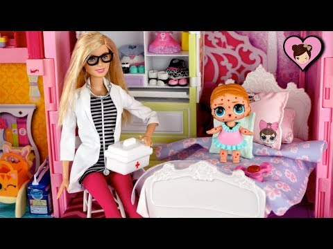 Barbie Doll Family LOL Surprise Doll Gets Chicken Pox  - LOL Toy Video