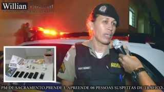 Comando 190 Araxá - PM de Sacramento prende 08 pessoas suspeitas de tráficos de drogas.