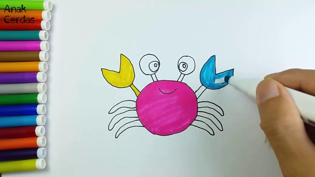 Belajar Menggambar Dan Mewarnai Kepiting Youtube