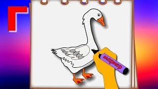 Буква Г. Рисуем алфавит. Учим буквы. Развивающие мультфильмы для детей.
