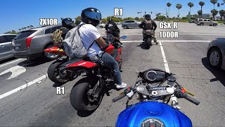 GSXR 750 vs THE WORLD | zx10r, r1, gsxr 1000