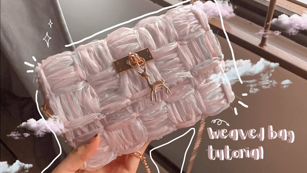 ORGANZA RIBBON BAG WITH NEW PATTERN | PLASTIC CANVAS BAG