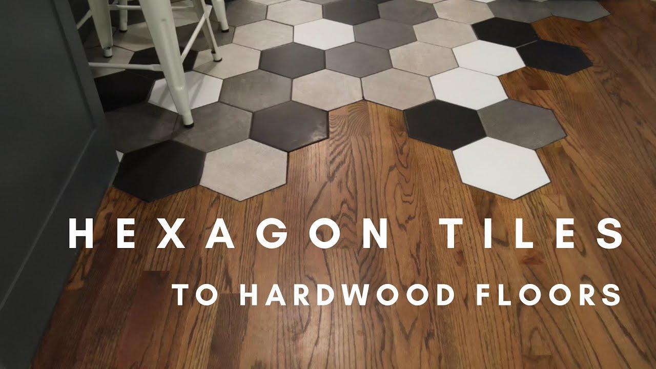 hexagon tile to hardwood floors