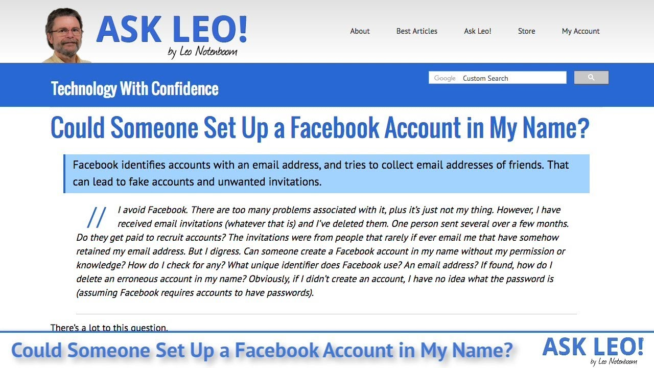 Could Someone Set Up a Facebook Account in My Name? - Ask Leo!