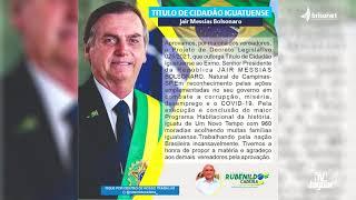 O PRESIDENTE DA REPÚBLICA, JAIR BOLSONARO GANHA TÍTULO DE CIDADÃO  DE IGUATU  DEVIDO A REPERCUSSÃO N
