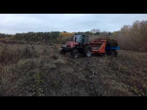 видео: Подборщик Сена соломы травы с трактором ЮМЗ 6 прицеп птс