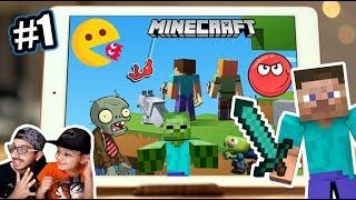 Juegos en mi Ipad | Minecraft, Plantas vs Zombies, Pacman, Bolita Roja | Juegos Karim Juega