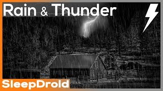 ► 'Rain and Thunder', Rain Sounds for Sleeping ~ Hard Rain on a Tin Roof Barn with Wind and Thunder