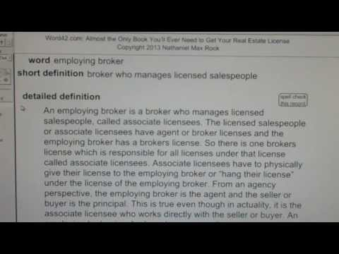 employing broker CA Real Estate License Exam Top Pass Words VocabUBee.com