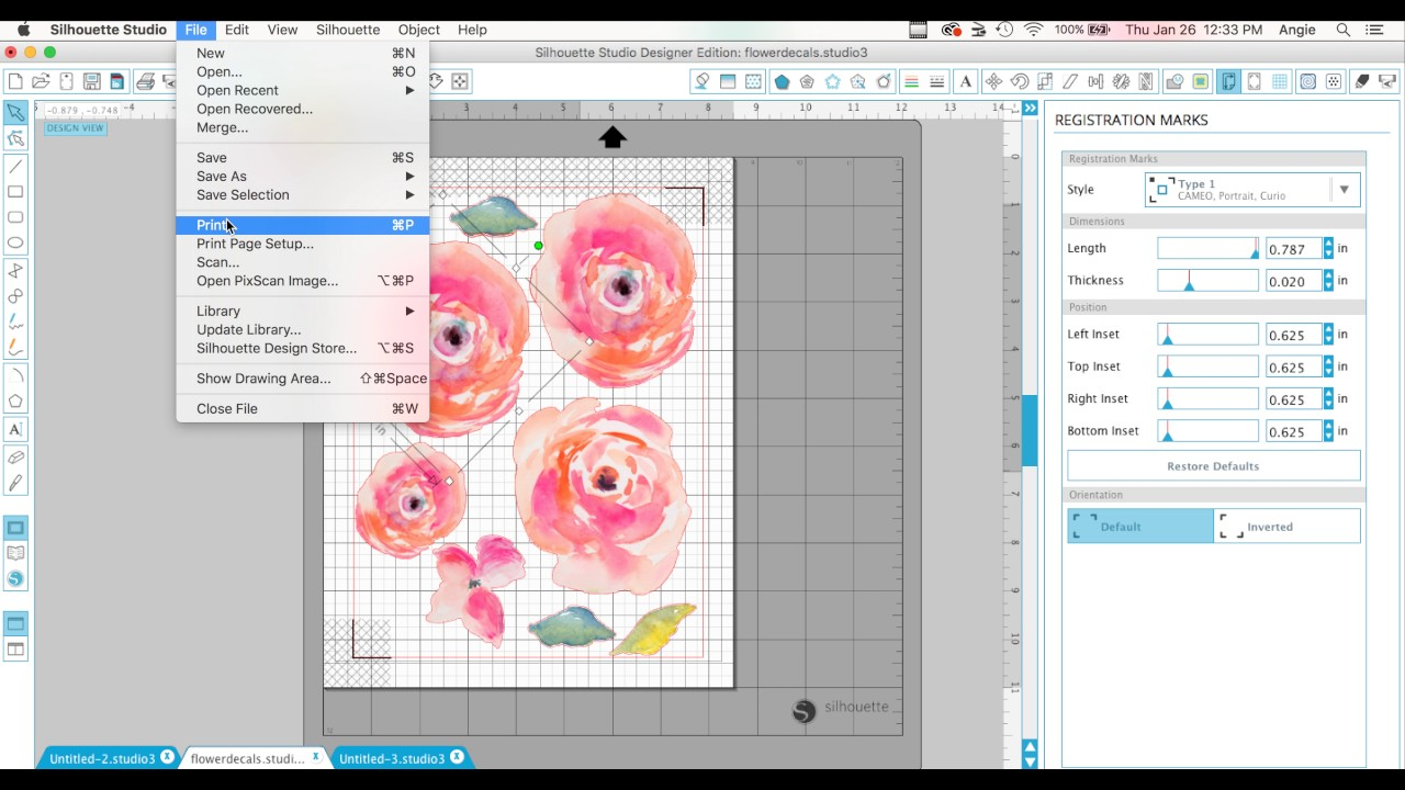How To Print And Cut Vinyl Decals Watercolor Flower