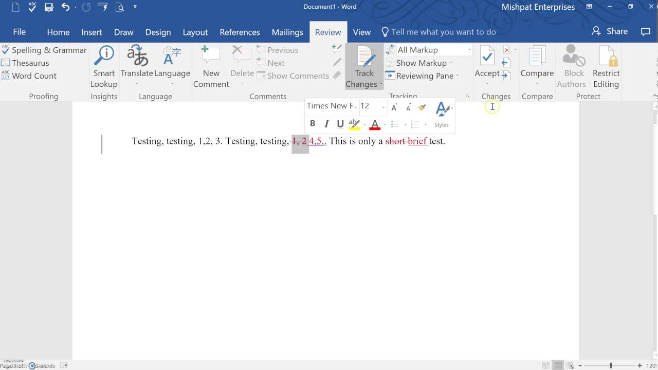 ms word track changes