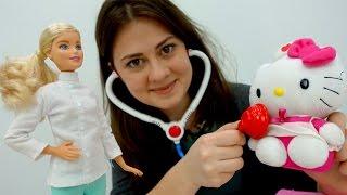 Барбі і Хелло Кітті у доктора Ау. Відео для дітей