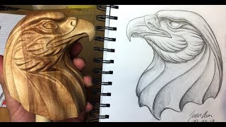 Making a wooden eagle head out of Norwegian birch wood