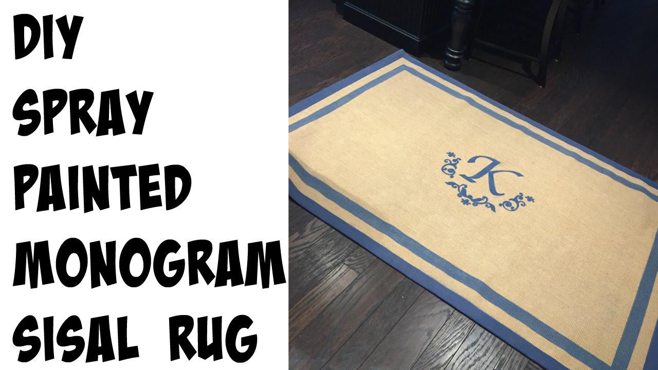 DIY Monogram Rug Using SPRAY PAINT!   YouTube