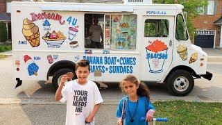 Heidi and Zidane Buying Ice Cream from Ice Cream Truck in real life