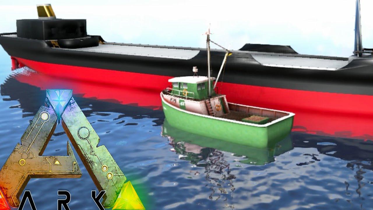 Ark survival evolved cargo barge fishing boat floating for Floating fishing platform