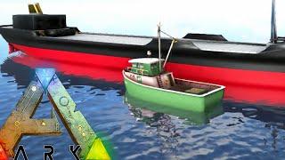 Ark Survival Evolved - CARGO BARGE, FISHING BOAT, FLOATING PLATFORM (Ark Modded Gameplay)
