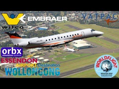 Last Leg Of WorldFlight 2017. Wilco ERJ135 Essendon To Wollongong