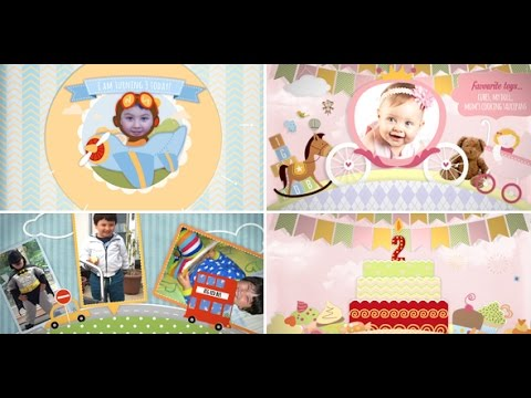 Children Video Memory Album Slideshow And Birthday Invitation - Birthday invitation video